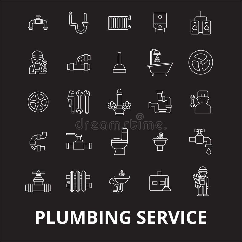 Editable διάνυσμα εικονιδίων γραμμών υπηρεσιών υδραυλικών που τίθεται στο μαύρο υπόβαθρο Άσπρες απεικονίσεις περιλήψεων υπηρεσιών διανυσματική απεικόνιση