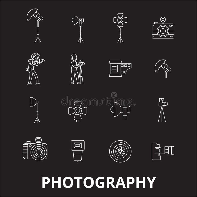 Editable διάνυσμα εικονιδίων γραμμών φωτογραφίας που τίθεται στο μαύρο υπόβαθρο Άσπρες απεικονίσεις περιλήψεων φωτογραφίας, σημάδ ελεύθερη απεικόνιση δικαιώματος