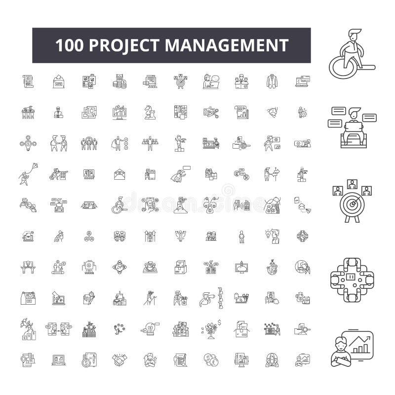 Editable εικονίδια γραμμών διαχείρισης του προγράμματος, 100 διανυσματικό σύνολο, συλλογή Μαύρες απεικονίσεις περιλήψεων διαχείρι ελεύθερη απεικόνιση δικαιώματος
