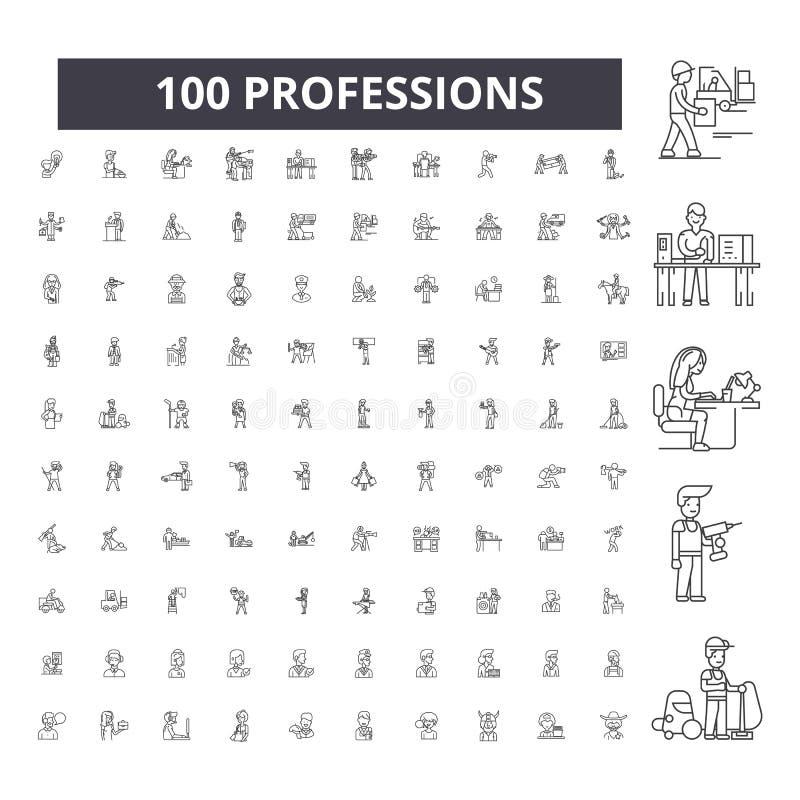Editable εικονίδια γραμμών επαγγελμάτων, 100 διανυσματικό σύνολο, συλλογή Μαύρες απεικονίσεις περιλήψεων επαγγελμάτων, σημάδια, σ απεικόνιση αποθεμάτων