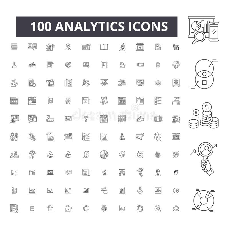 Editable εικονίδια γραμμών Analytics, 100 διανυσματικό σύνολο, συλλογή Μαύρες απεικονίσεις περιλήψεων Analytics, σημάδια, σύμβολα ελεύθερη απεικόνιση δικαιώματος