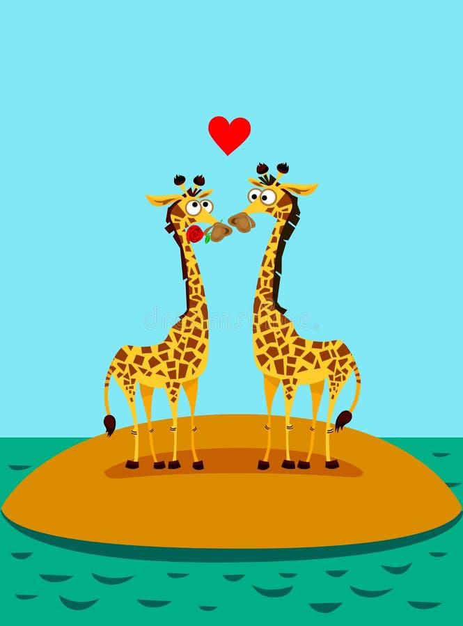 editable влюбленность giraffes eps полная Смешная иллюстрация вектора иллюстрация штока