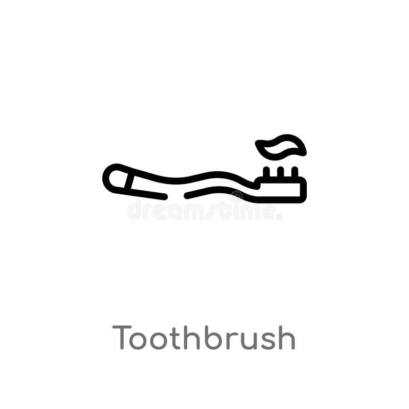 значок вектора зубной щетки плана изолированная черная простая линия иллюстрация элемента от концепции красоты editable ход векто бесплатная иллюстрация