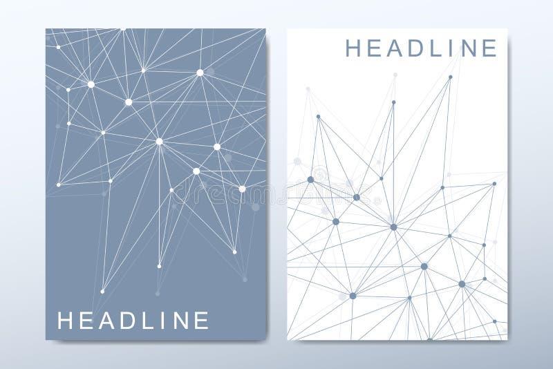 Editable шаблон вектора для брошюры, крышки, рогульки, годового отчета, листовки Минимальный абстрактный состав с молекулой бесплатная иллюстрация