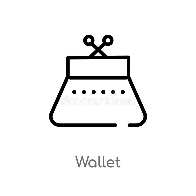значок вектора бумажника плана изолированная черная простая линия иллюстрация элемента от концепции одежды женщины editable ход в иллюстрация вектора