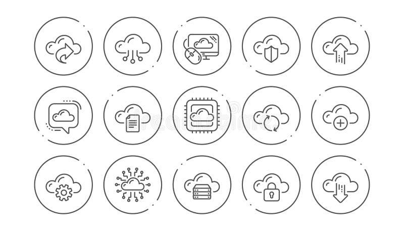 Στοιχεία σύννεφων και εικονίδια τεχνολογίας Φιλοξενία, στοιχεία υπολογισμού και αποθήκευση αρχείων Γραμμικό σύνολο εικονιδίων r απεικόνιση αποθεμάτων