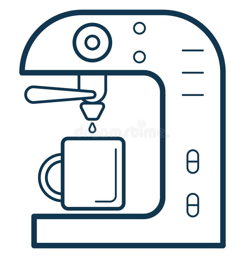 Editable aislada ejemplo del vector del color de la máquina del café completamente libre illustration