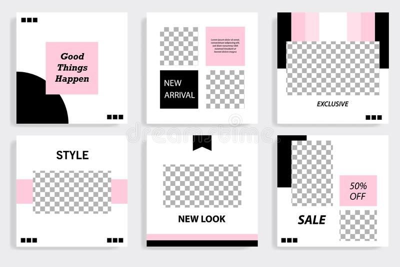 Editable black and pink square abstract geometric banner template for social media post stock illustration