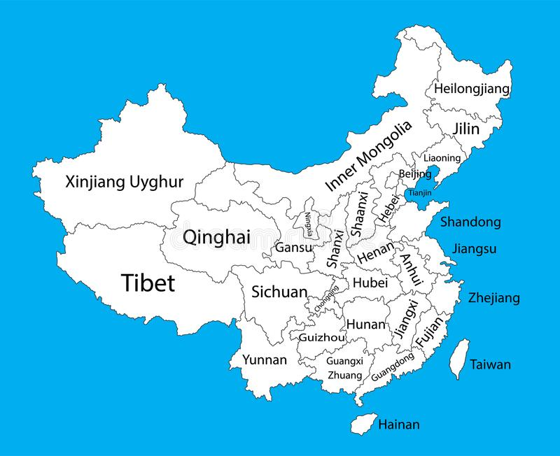 Editable Blank Vector Map Of China Vector Map Of China Isolated On