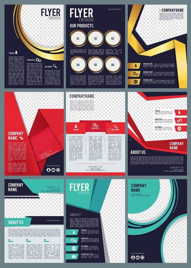 Editable Broschüre Geschäftsfliegeranzeigen in der TitelseitenHandelsberichtvektorentwurfsschablone mit modernem gefärbt vektor abbildung