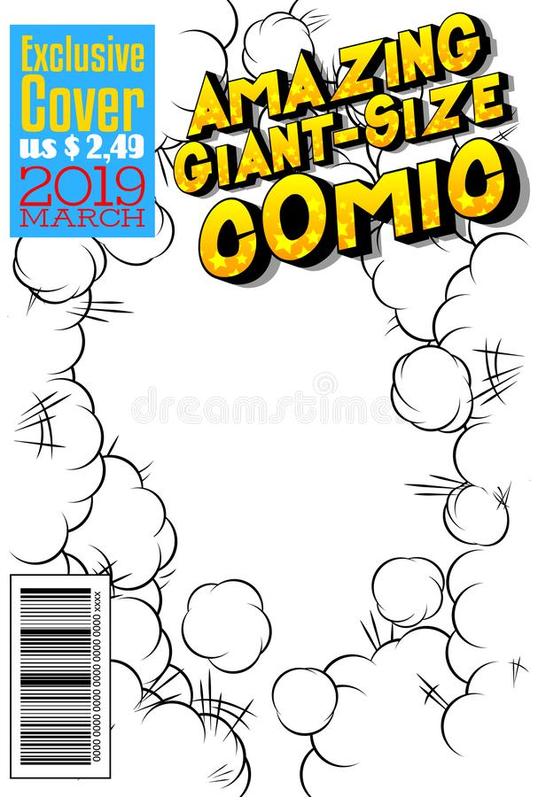Editable comic book cover with abstract background. Amazing Giant-Size Comic cover stock illustration
