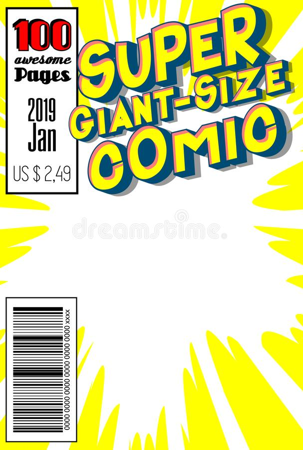 Editable comic book cover with abstract background. Cool Giant-Size Comic cover stock illustration