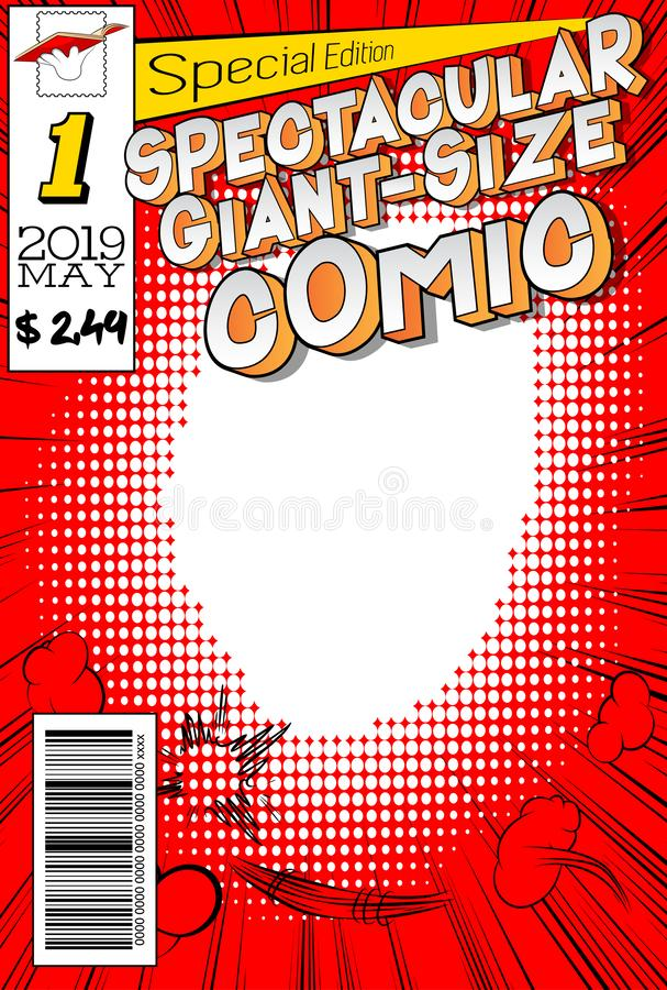 Editable comic book cover with abstract background. Spectacular Giant-Size Comic cover royalty free illustration