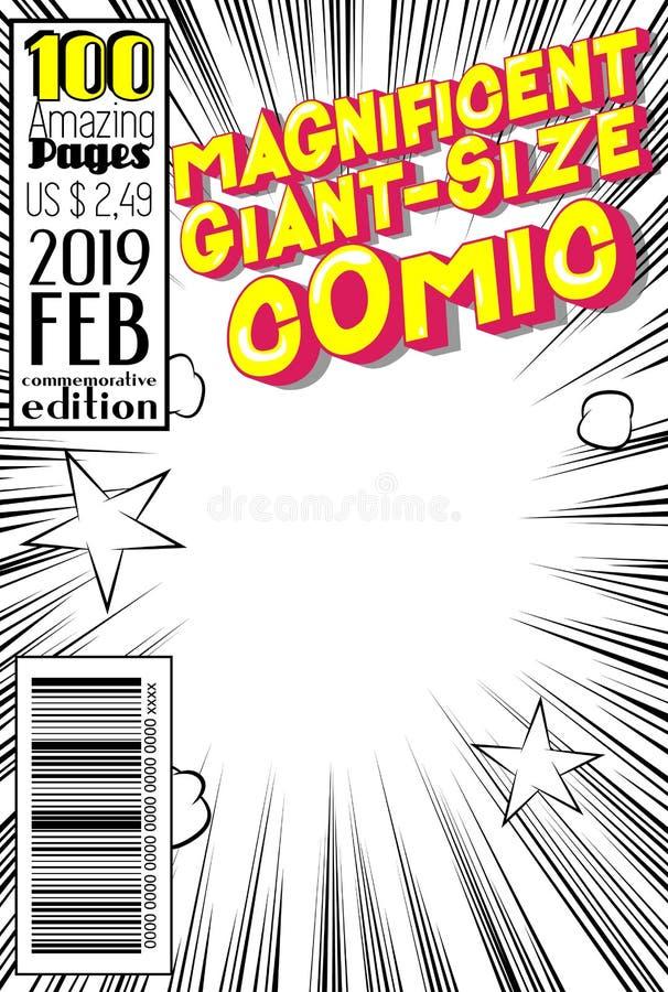 Editable Comic-Buch-Bucheinband mit abstraktem Hintergrund vektor abbildung