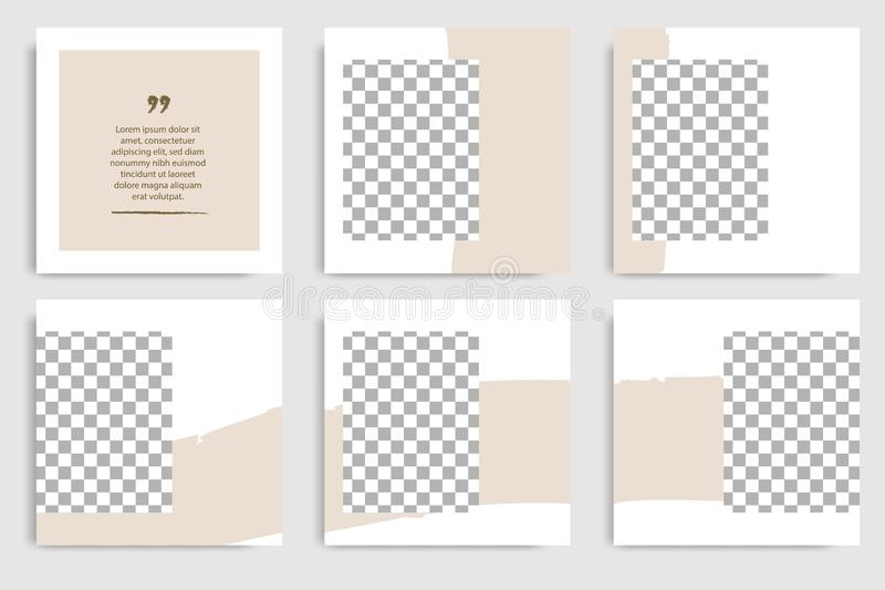 Editable instagram layout set square abstract brush brown banner template for social media post and cover. Editable continuous set square abstract brush texture vector illustration