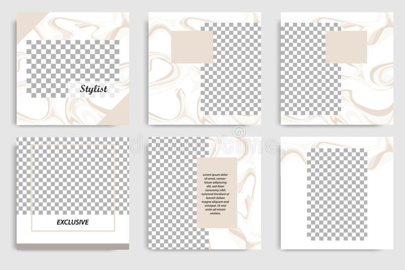 Editable instagram layout set square abstract marble brown banner template for social media post and cover. Editable continuous set square abstract marble royalty free illustration