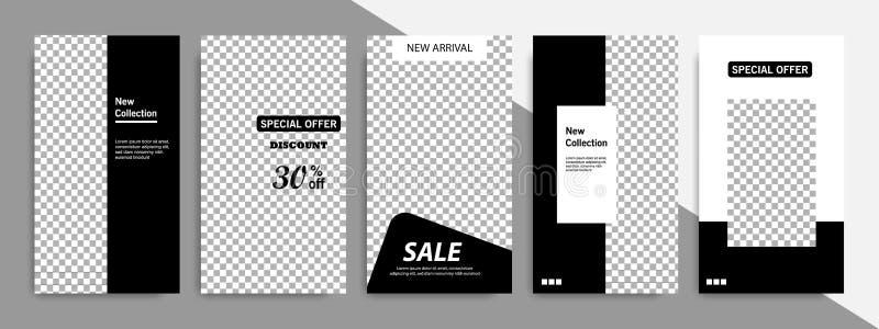 Editable czarny i biały geometryczny sztandaru szablon dla ogólnospołecznych środków wysyła opowieści i opowieści pokrywę ilustracji