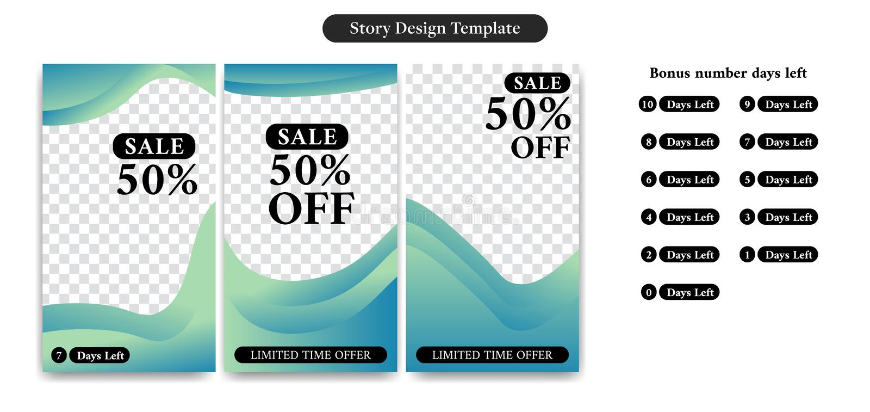 Editable de sociale media dekking van het verhaalontwerp, vlieger, bannermalplaatje voor marketing kortingsverkoop en bevordering stock illustratie