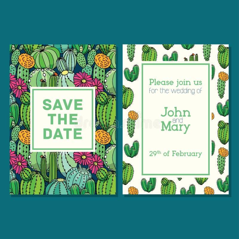 Editable de uitnodigingsmalplaatje van de huwelijkskaart, patroonontwerp Sparen de datumkaart stock illustratie