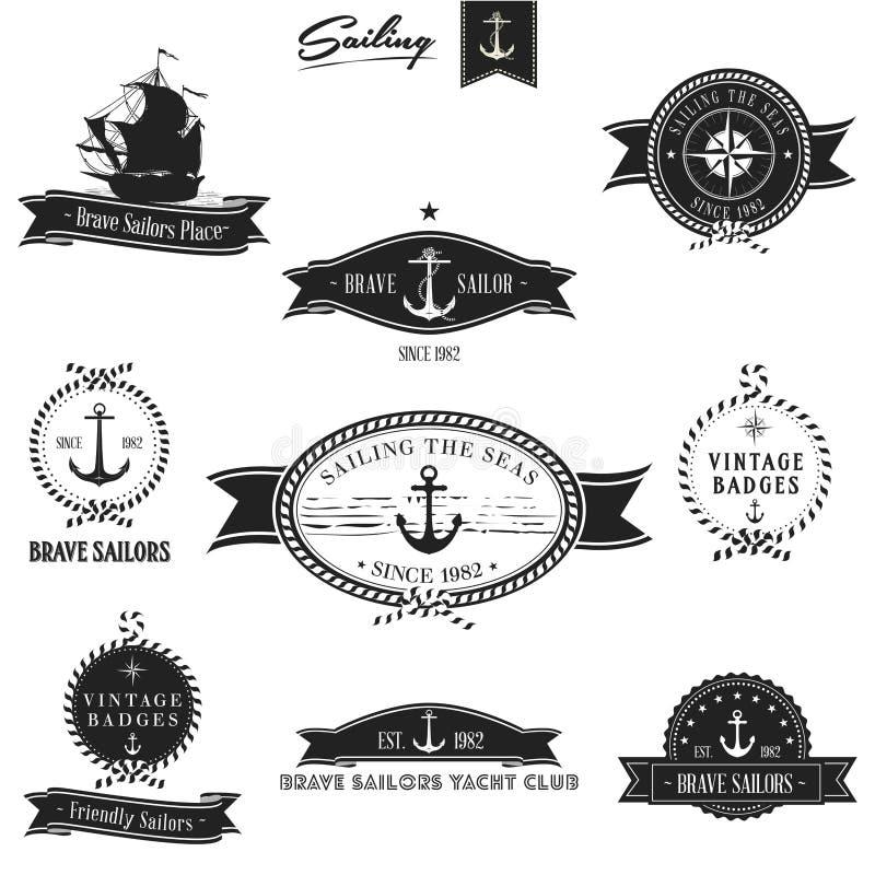 Rocznik odznaki Retro Nautyczny set royalty ilustracja
