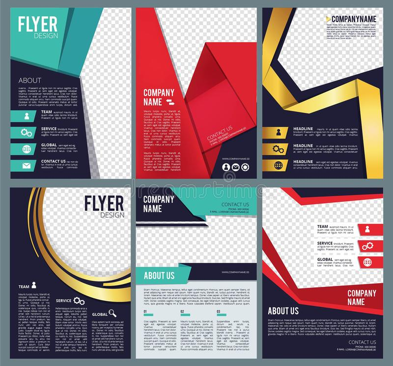 Editable flyers. Business brochure layout template with place for personal pictures modern abstract forms vector design stock illustration