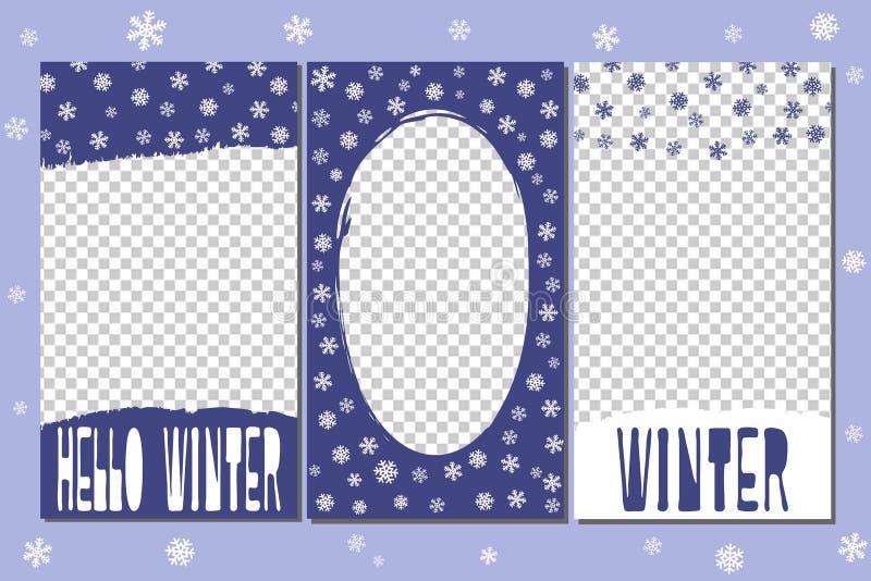 Editable Geschichtenschablonen - Wintersatz Elemente gezeichnet durch Bürsten vektor abbildung