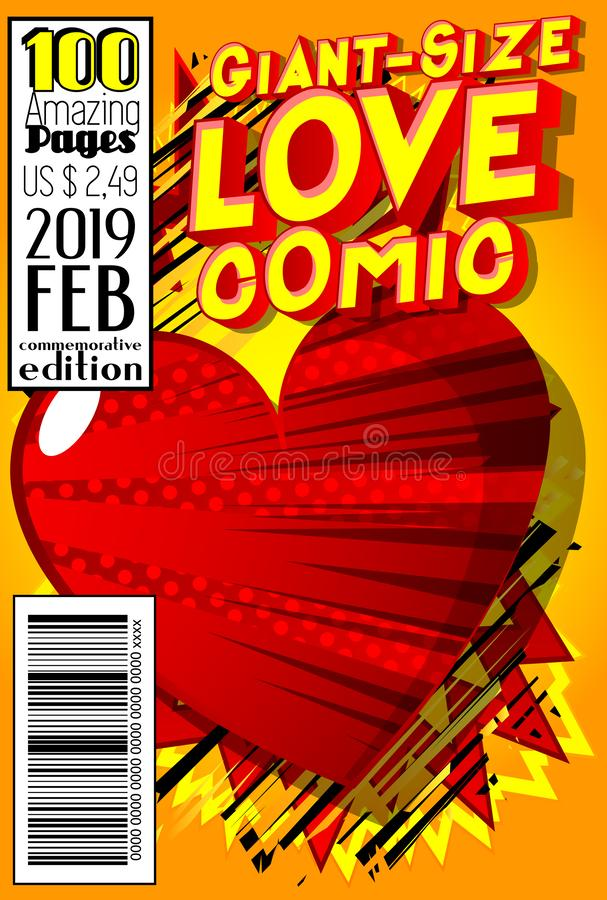 Giant-Size Love Comic Book cover. Editable Giant-Size Love Comic Book cover with hearts and other effects vector illustration