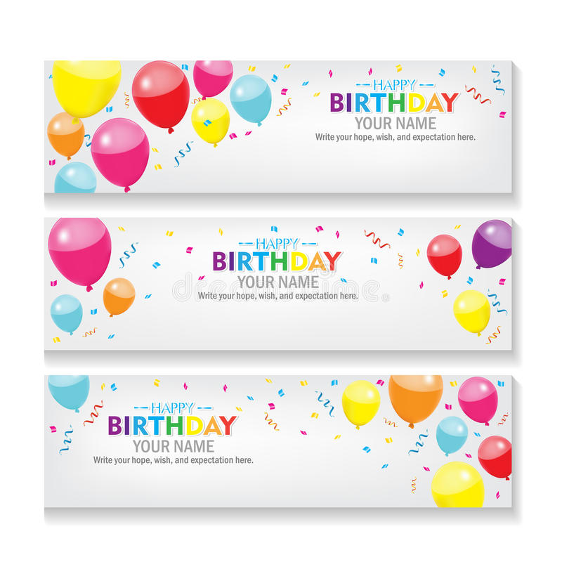 Editable Happy Birthday Banner With Balloon And Confetti