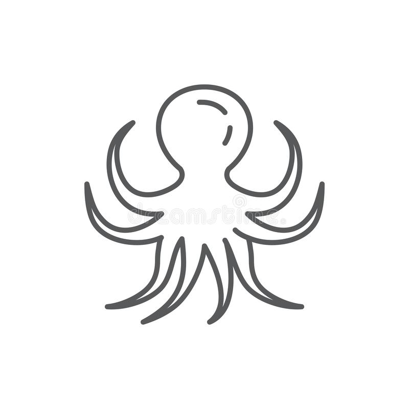 Editable het pixel perfect die pictogram van de octopuslijn op witte achtergrond wordt geïsoleerd - schets overzees en oceaan het vector illustratie
