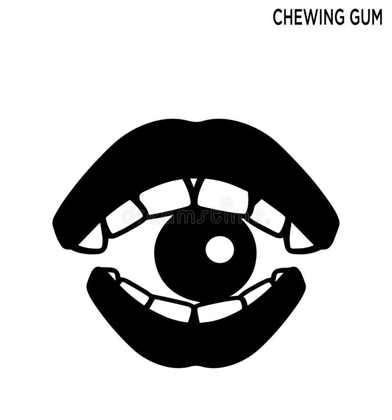 Editable het symboolontwerp van het kauwgompictogram royalty-vrije illustratie