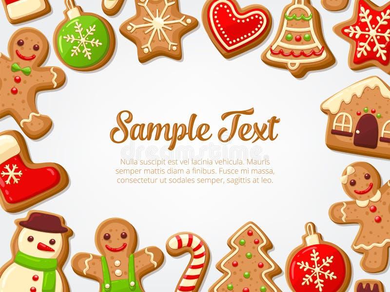 Editable Hintergrund von Weihnachtslebkuchenplätzchen vektor abbildung