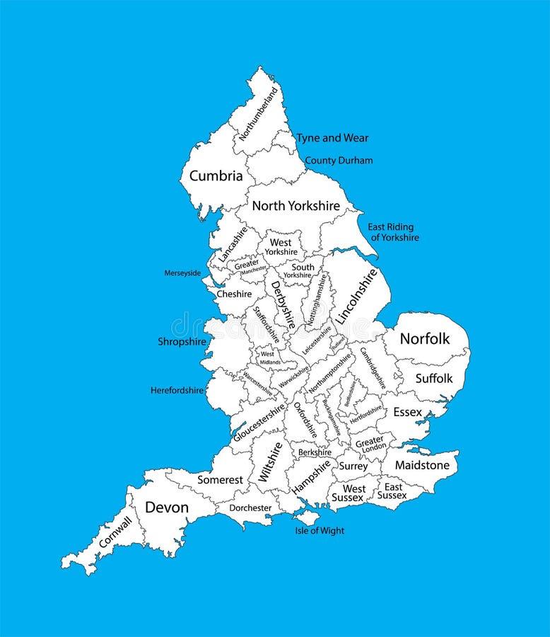 Editable lege kaart van Engeland Administratieve afdelingen van Engeland, gescheiden provincies stock illustratie