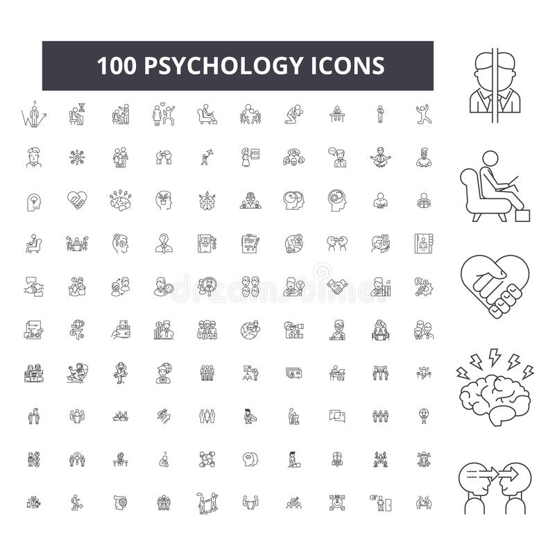 Editable Linie Ikonen, Satz mit 100 Vektoren, Sammlung der Psychologie Schwarze Entwurfsillustrationen der Psychologie, Zeichen,  stock abbildung