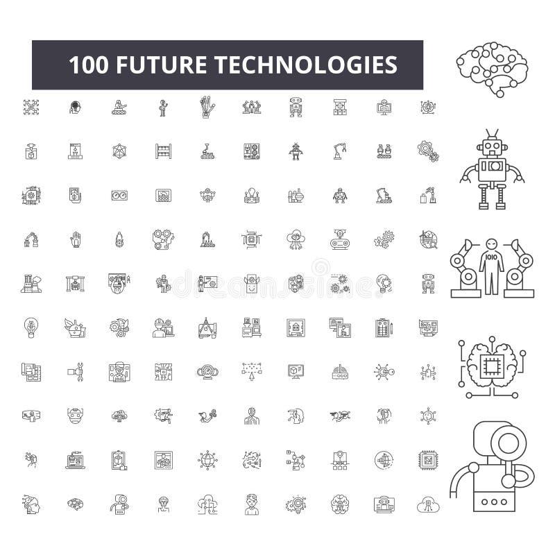Editable Linie Ikonen, Satz mit 100 Vektoren, Sammlung der zukünftigen Technologien Schwarze Entwurfsillustrationen der zukünftig lizenzfreie abbildung