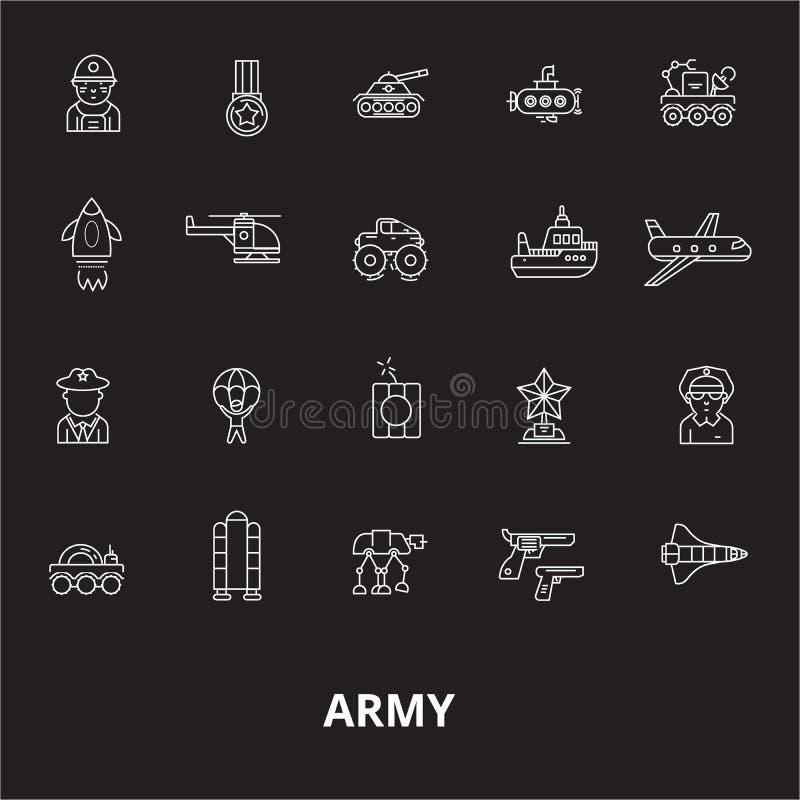 Editable Linie Ikonenvektorsatz der Armee auf schwarzem Hintergrund Weiße Entwurfsillustrationen der Armee, Zeichen, Symbole stock abbildung