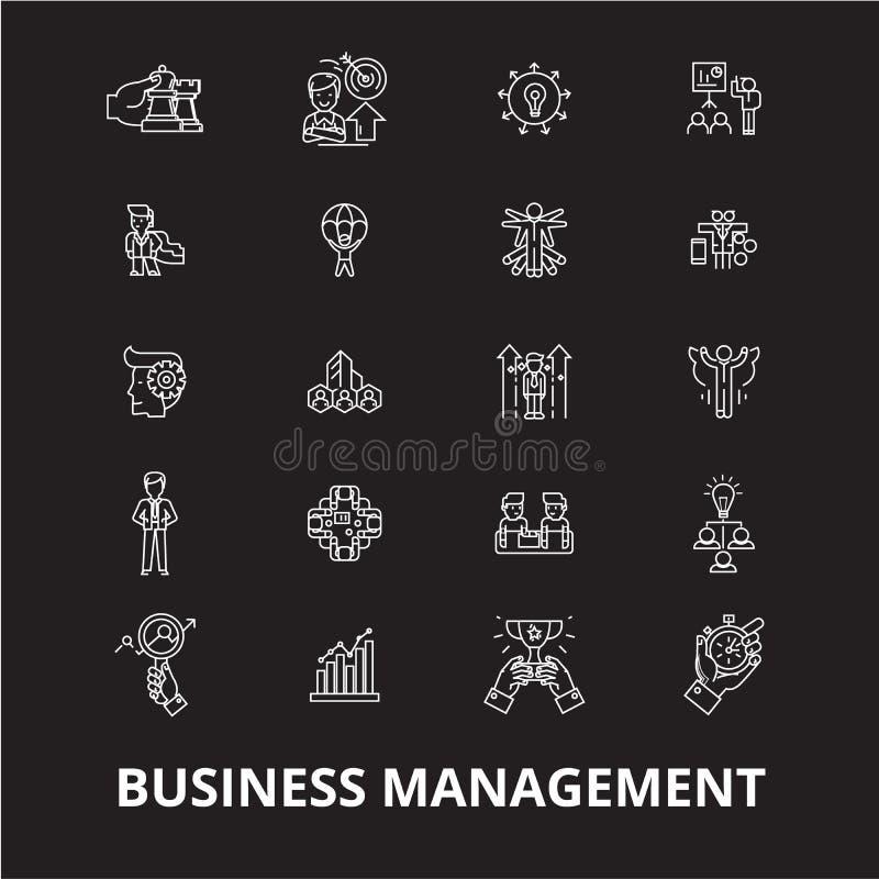 Editable Linie Ikonenvektorsatz der Geschäftsführung auf schwarzem Hintergrund Weiße Entwurfsillustrationen der Geschäftsführung stock abbildung