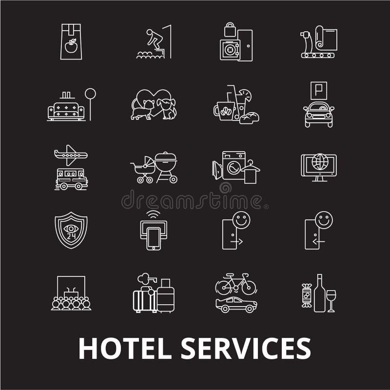 Editable Linie Ikonenvektorsatz der Hotelservices auf schwarzem Hintergrund Weiße Entwurfsillustrationen der Hotelservices, Zeich stock abbildung