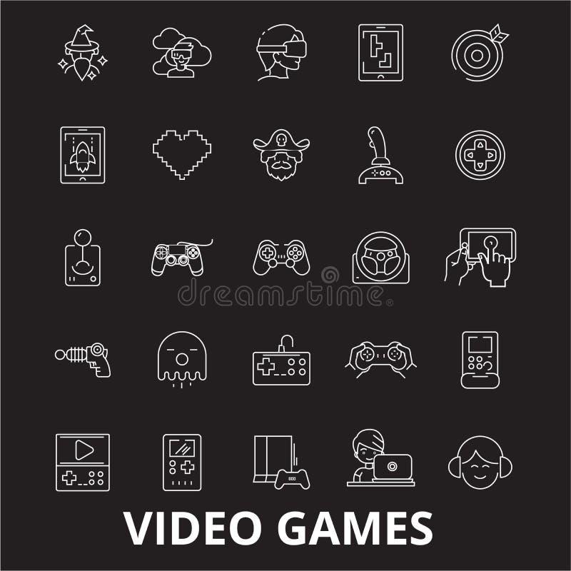 Editable Linie Ikonenvektorsatz der Videospiele auf schwarzem Hintergrund Weiße Entwurfsillustrationen der Videospiele, Zeichen,  stock abbildung