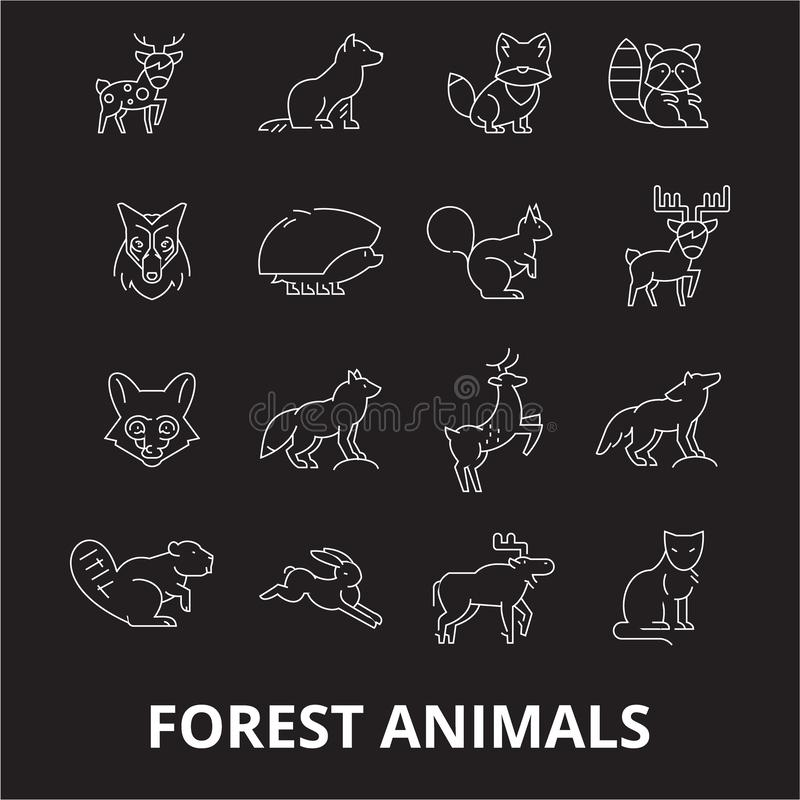 Editable Linie Ikonenvektorsatz der Waldtiere auf schwarzem Hintergrund Weiße Entwurfsillustrationen der Waldtiere, Zeichen stock abbildung