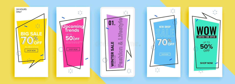 In editable malplaatje voor sociale netwerkenverhalen, vectorillustratie Ontwerpachtergronden voor sociale media stock illustratie