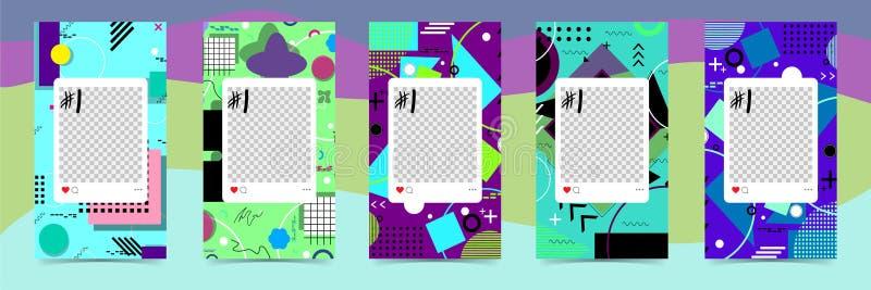 In editable malplaatjes voor instagramverhalen, verkoop Ontwerpachtergronden voor sociale media Hand getrokken abstracte kaart royalty-vrije illustratie