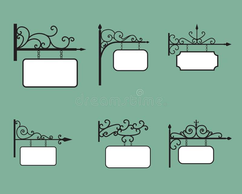 Editable obwieszenie sztandar w roczniku i znak projektujemy royalty ilustracja
