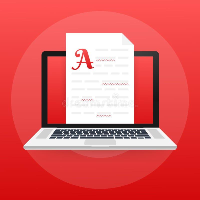 Editable online document Het creatieve schrijven en het storytelling, het copywriting Online onderwijs, ver het leren concept stock illustratie