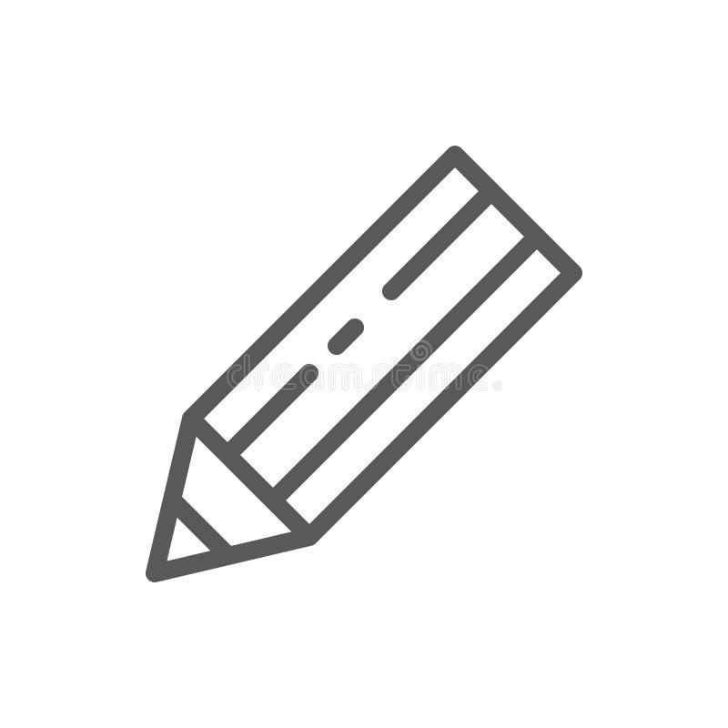 Editable pictogram van de potlood het vectorillustratie - schets pixel perfect symbool van scherp instrument voor het trekken of  stock illustratie