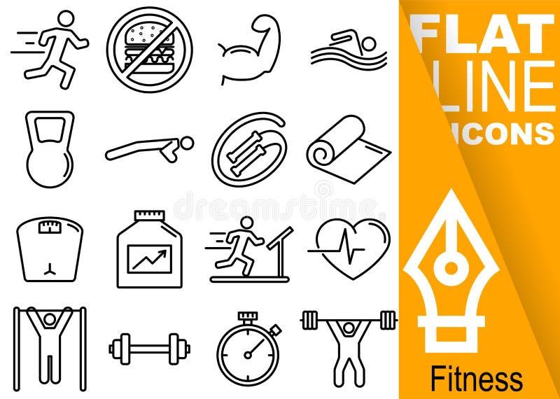 Editable Pixel des Anschlags 70x70 Einfacher Satz der flachen Linie Ikonen mit vertikaler orange Fahne - Lauf, Muskeln, Schwimmen vektor abbildung