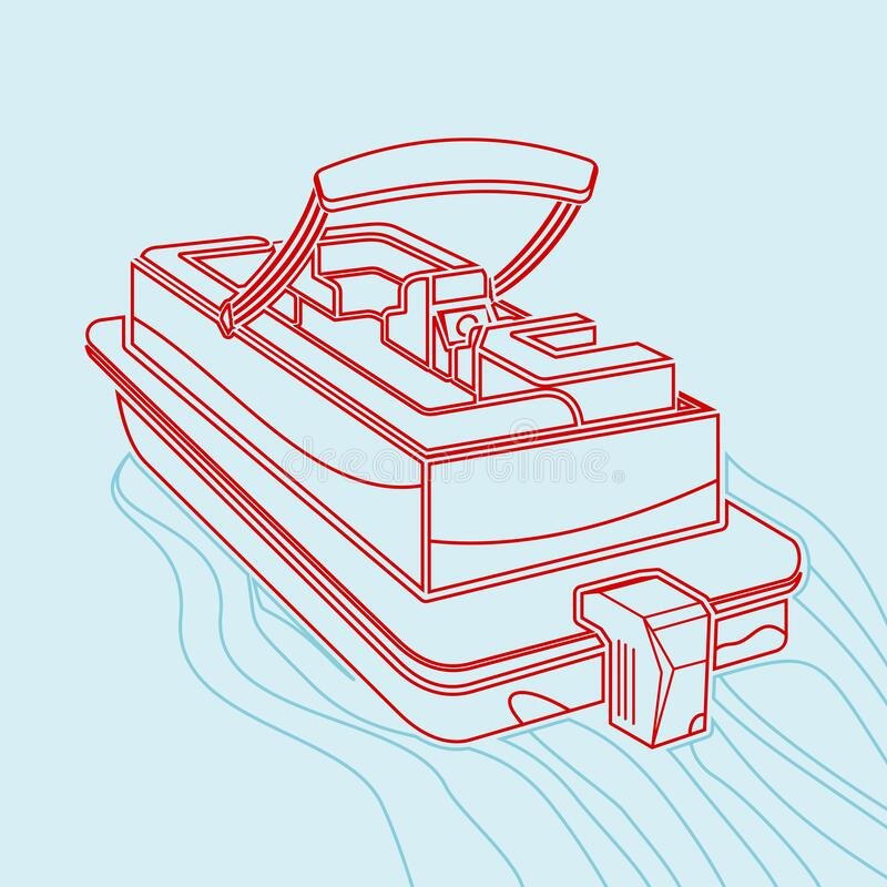 Free Editable Pontoon Boat Vector Illustration In Outline Style Stock Image - 187326371