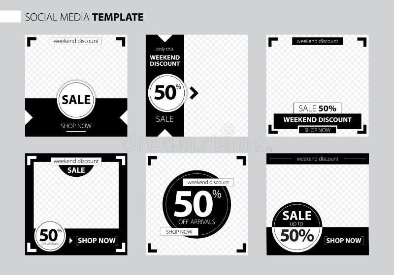 Editable Post Template Social Media Banners for Digital Marketing. Promo Brand Fashion. Stories. Streaming. Vector stock illustration