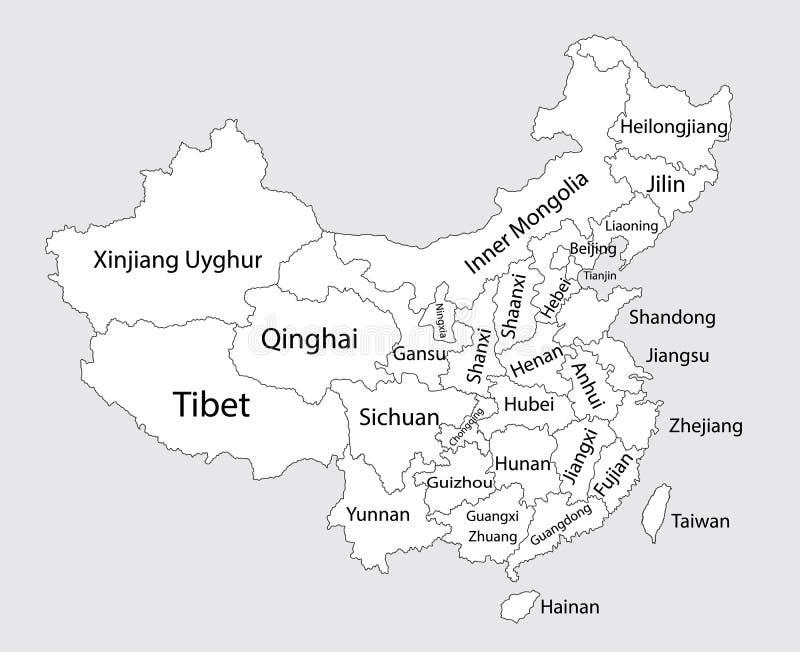 Editable pusta mapa Chiny ilustracji