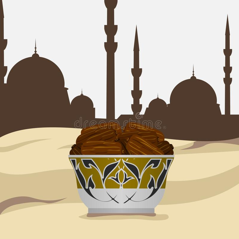 Side View Arabian Dates Fruit with Mosque Silhouette royalty free illustration