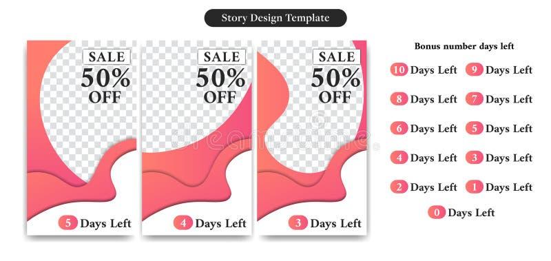 Editable Social Media-Geschichten-Schablone in der modischen abstrakten flüssigen Papierschnittart für Produktverkauf oder -rabat lizenzfreie abbildung